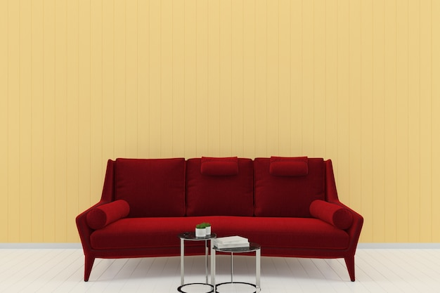 Red sofa yellow pastel wall white wood floor background texture template book Premium Photo