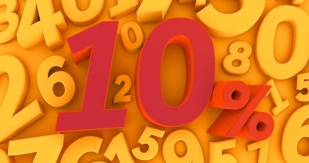 Красные десять процентов на желтом фоне с числами. 3d визуализация. 10% Premium Фотографии