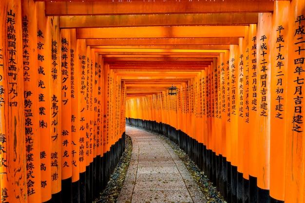 Красные ворота торусов на святыне fushimi inari в киото, японии. Premium Фотографии