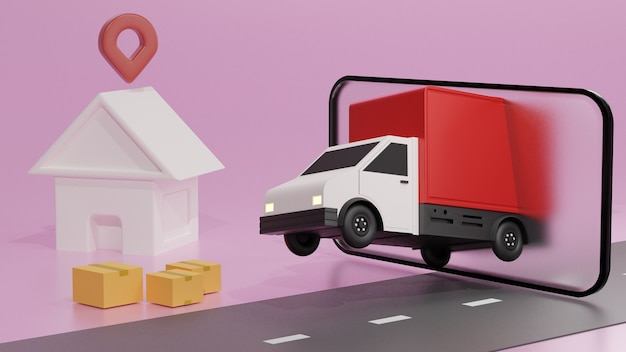 The red truck on the mobile phone screen, over pink background order delivery Premium Photo