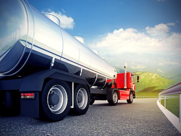 青い空の下のアスファルトの道路上の赤いトラック Premium写真