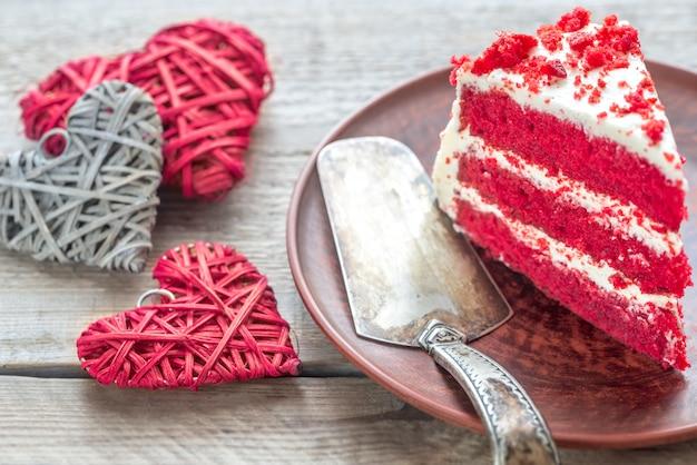 Red velvet cake on the plate Premium Photo