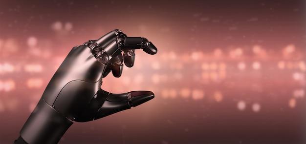 Red virus cyborg robot hand - 3d rendering Premium Photo