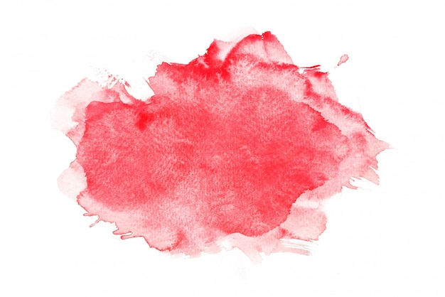 Red watercolor isolated on white backgrounds, hand painting on paper Premium Photo