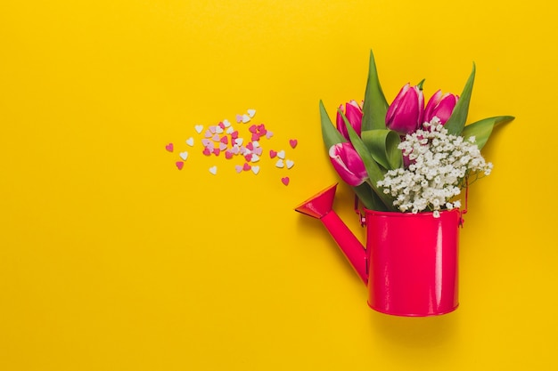Red watering can with flowers on yellow background Free Photo