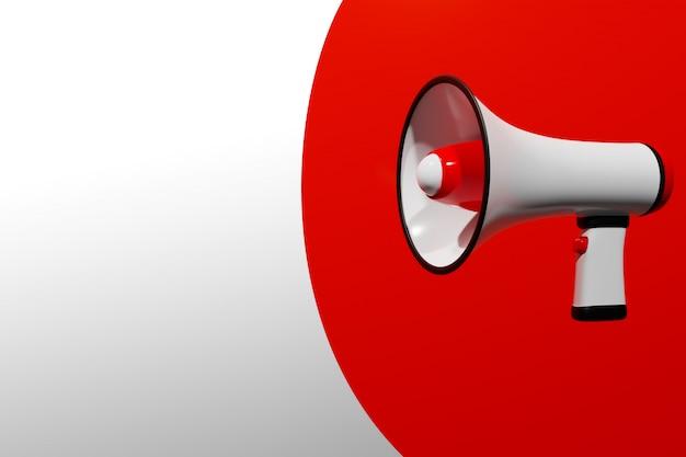 Red and white cartoon loudspeaker on a white monochrome background. Premium Photo