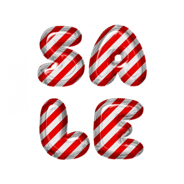 Red and white striped letter balloons sale on white Premium Photo