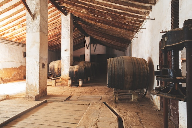 Red wine barrels stacked in the old cellar of the vinery in spain, alicante Premium Photo