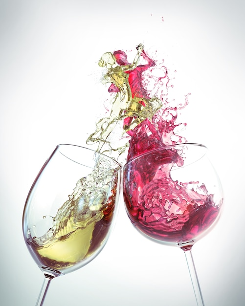 Red wine and white wine splash is the shape of a man and a woman dancing Premium Photo