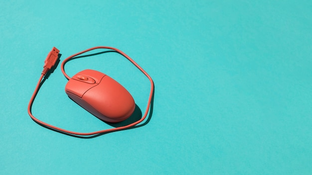 Red wired usb optical mouse Free Photo