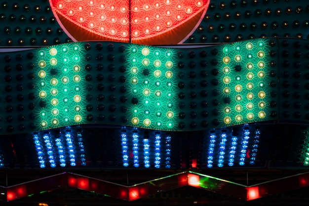Red with green and blue lamps in closeup view Free Photo