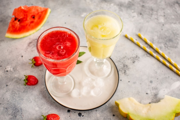 Red and yellow watermelon juice Free Photo