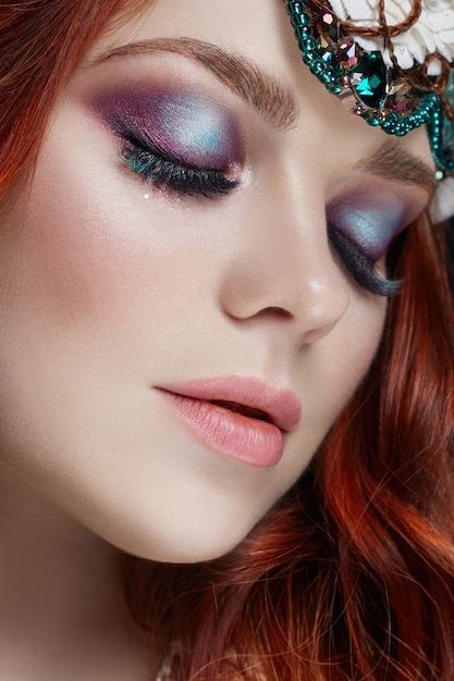 Redhead Girl With Bright Makeup