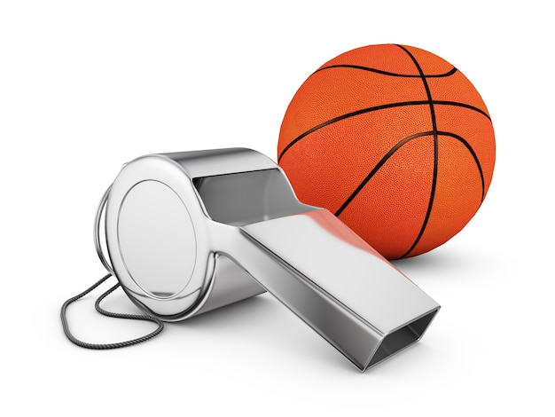 Referee whistle and a basketball. 3d rendering. Premium Photo