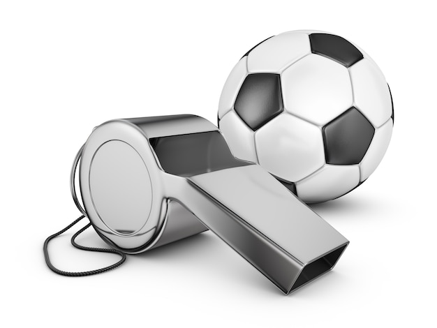 Referee whistle and soccer ball. 3d rendering. Premium Photo