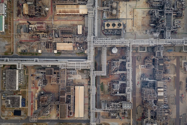 Refinery oil and petroleum industry factory zone in thailand aerial top view Premium Photo