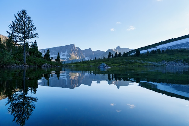 Reflection of the mountain on water, mirror image of mountains in water Premium Photo