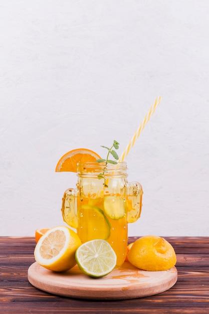 Refreshing lemonade in retro jar Free Photo