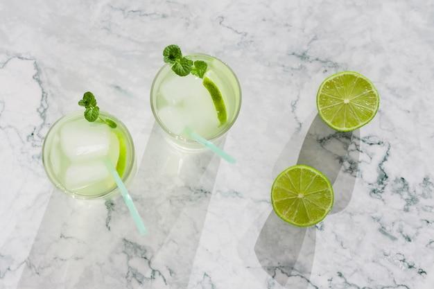 Refreshing lime beverage Free Photo