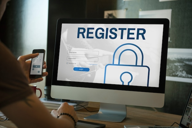 Register log in user password concept Premium Photo