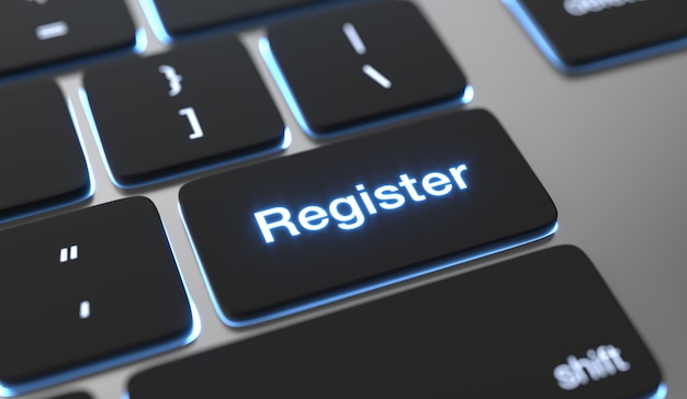 Register text on keyboard button. Premium Photo