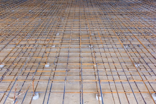 Reinforcement metal framework for concrete pouring. ready for filling up with concrete. Premium Photo