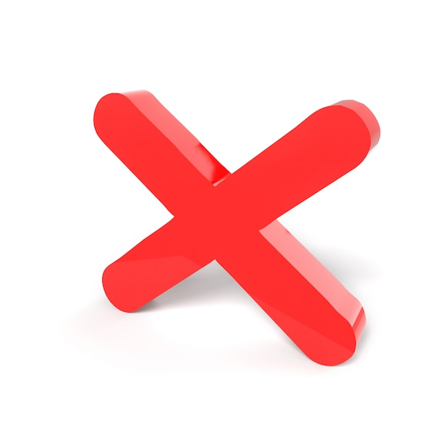 Rejected sign symbol. red cross no or wrong concepts on the white. isolated. rejected sign icon. three-dimensional rendering, 3d render. Premium Photo
