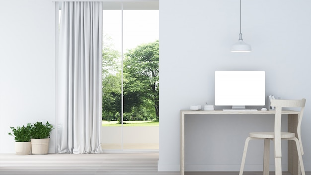 Relax space interior minimal and wall decoration empty in apartment- Premium Photo