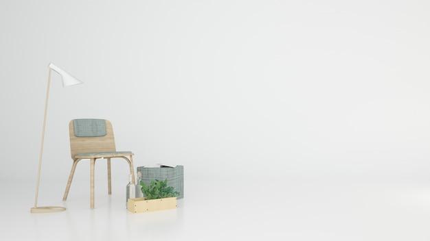 공간 흰색 배경 휴식-인테리어 3d 렌더링 프리미엄 사진