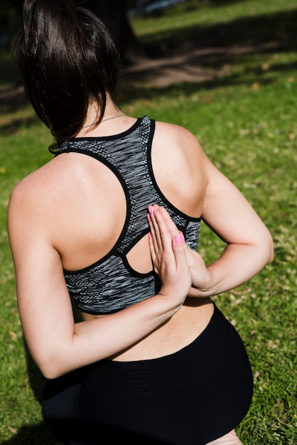 Relaxed girl practicing yoga outdoor Free Photo