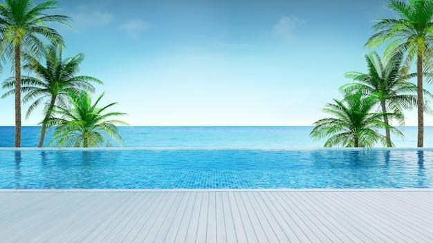 夏のビーチ、日光浴デッキ、ビーチ近くのヤシの木と豪華な家の3 dレンダリングでパノラマの海の景色とプライベートスイミングプール Premium写真