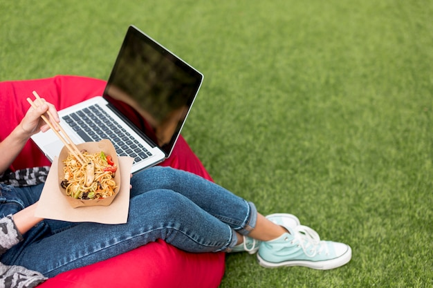 Relaxing time and eating in the park Free Photo