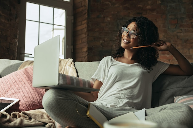 Remote office, working at home, freelance concept Free Photo