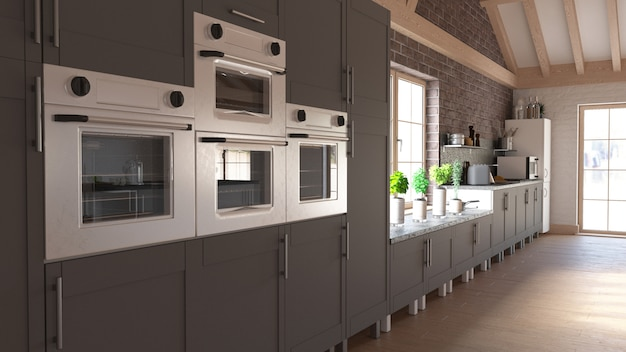 Render of  3d contemporary kitchen Free Photo