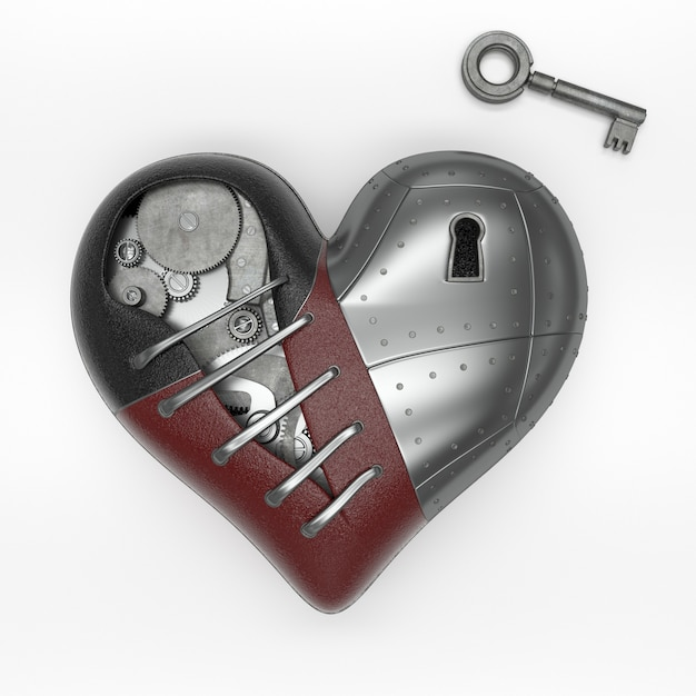Render of 3d steampunk styled heart Free Photo