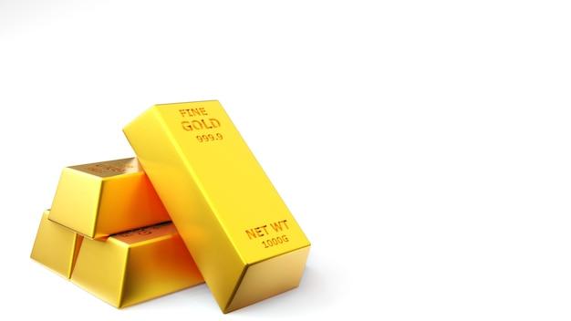 금 벽돌 골드 바의 렌더링 프리미엄 사진