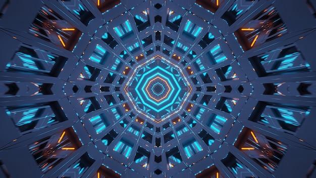 Визуализация абстрактного футуристического фона со светящимися неоновыми сине-зелеными и оранжевыми огнями Бесплатные Фотографии