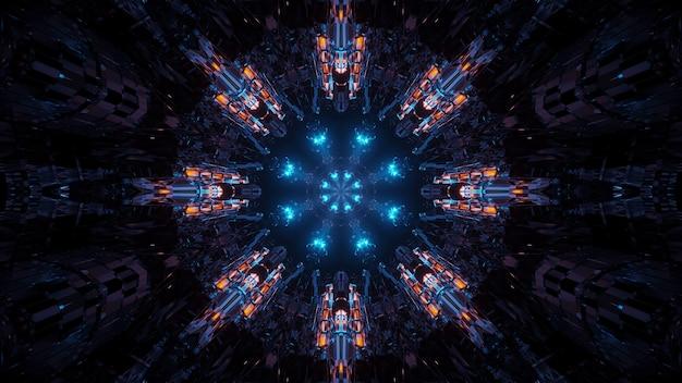 Визуализация абстрактного футуристического фона с неоновыми огнями Бесплатные Фотографии