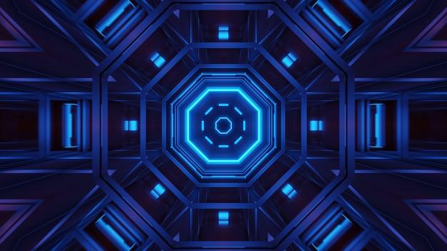 Визуализация абстрактного футуристического фона со светящимися неоновыми синими огнями Бесплатные Фотографии