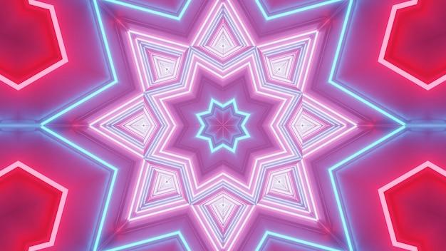 Визуализация абстрактного футуристического фона со светящимися неоновыми синими, розовыми и красными огнями Бесплатные Фотографии