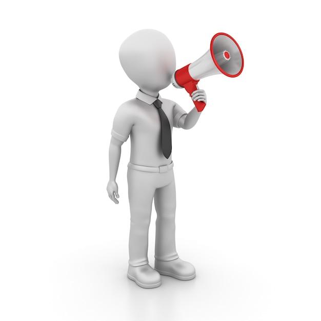 Рендеринг иллюстрация мультипликационный персонаж с мегафоном Premium Фотографии