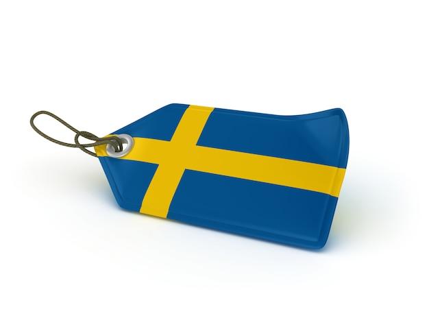 Rendering illustration of shopping price tag swedish flag Premium Photo