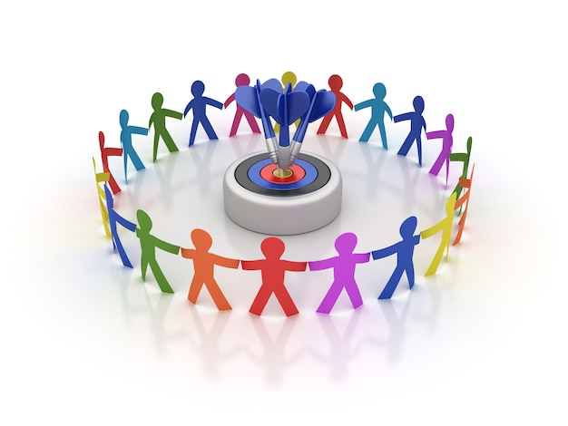 Rendering illustration of teamwork pictogram people with target and darts Premium Photo