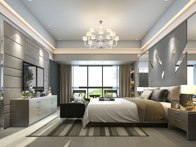 Rendering luxury modern bedroom suite in hotel Premium Photo