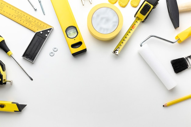 Repairing and painting tools with copy space Premium Photo