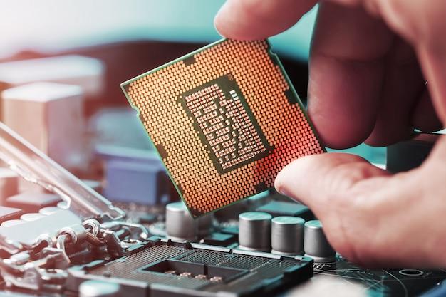 Replacing the computer central processor Premium Photo