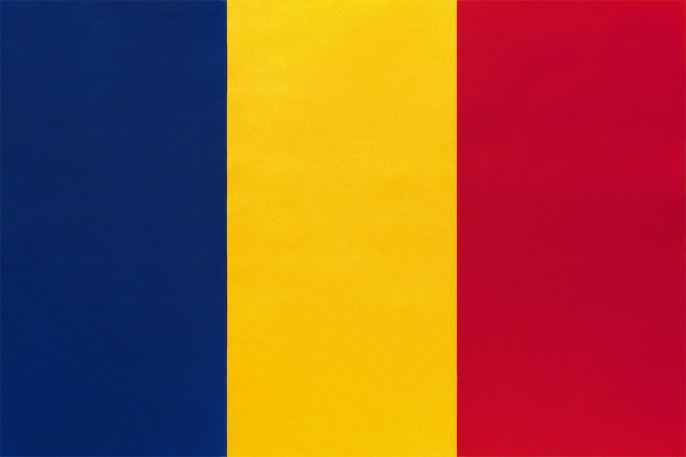 Republic of chad national fabric flag, textile background. symbol of world african country. Premium Photo