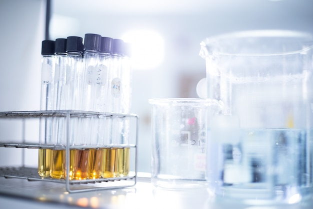 Research laboratory - glassware and equipment used in scientific work for chemical backgrounds Premium Photo