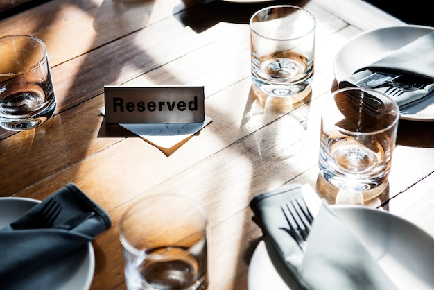 Reserved table at a restaurant Free Photo