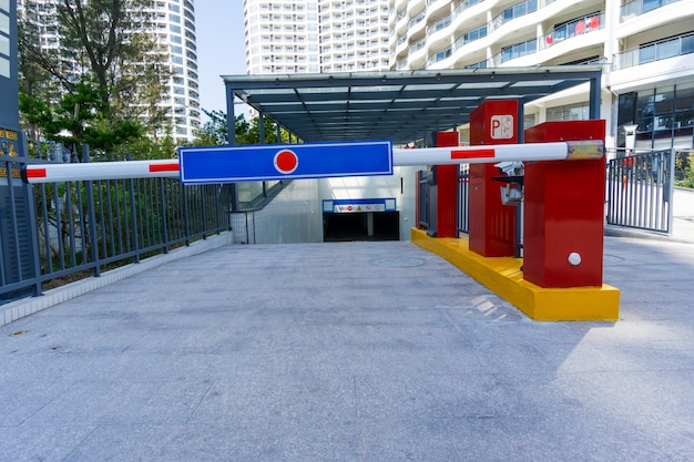 Residential area underground parking, the entrance of the booth Premium Photo